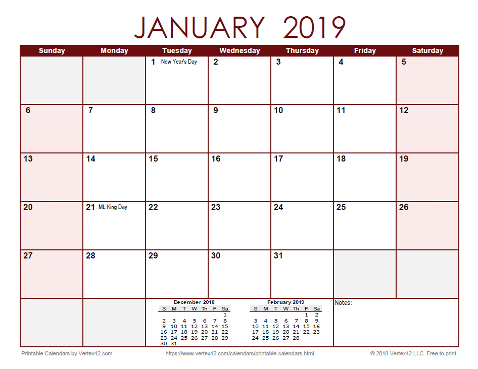 2019 Monthly Calendar - Red