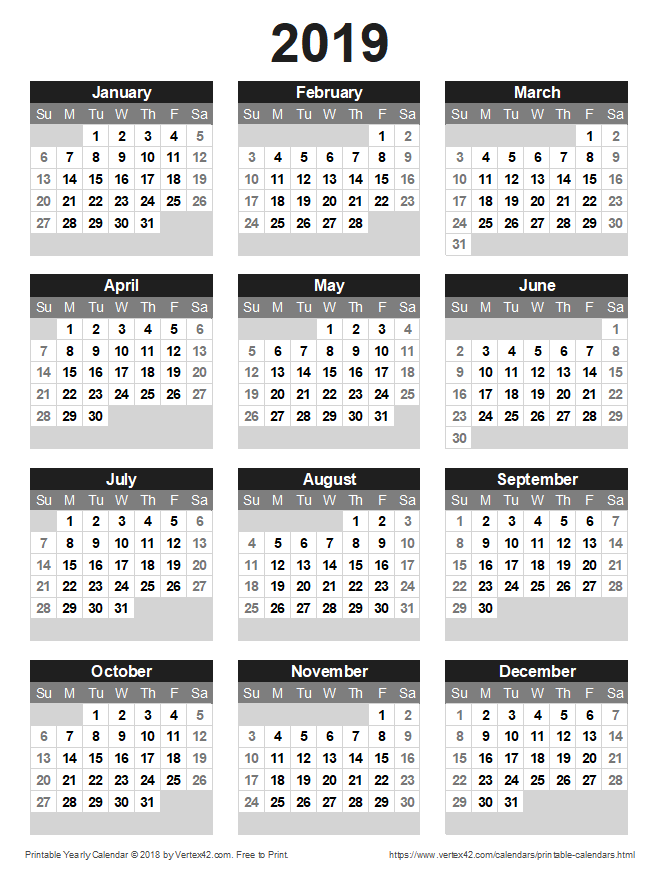 Free Printable Yearly Calendar 2019 Free Printable Calendar   Printable Monthly Calendars