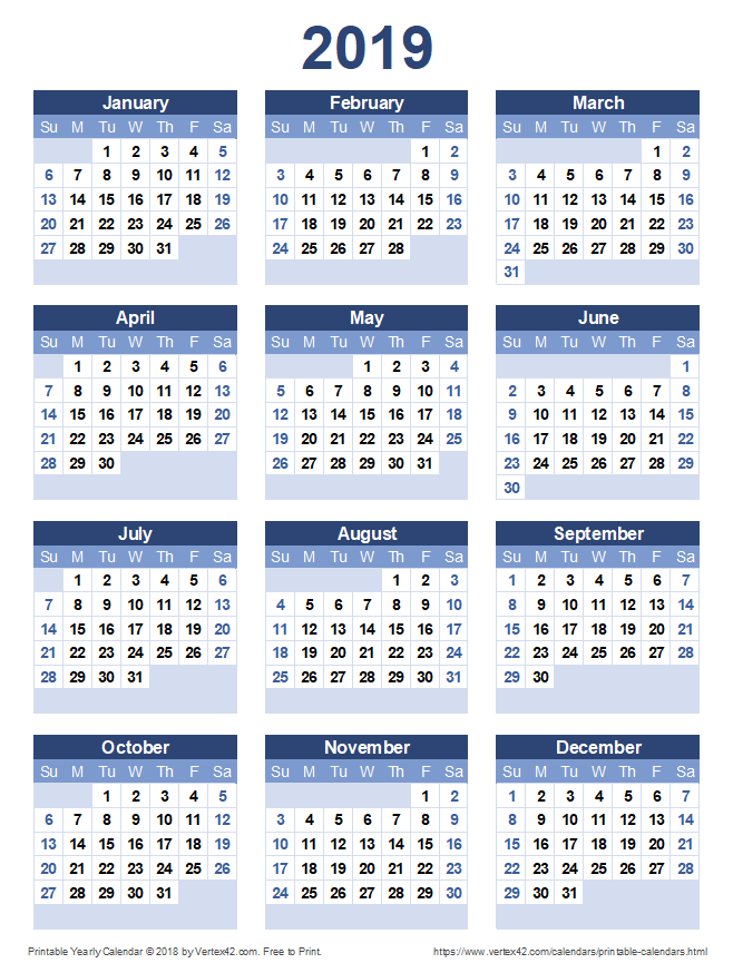 Printable 2019 Yearly Calendar