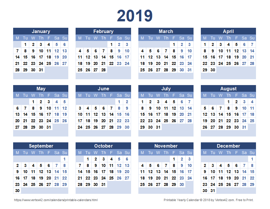 Printable 2019 Yearly Calendar