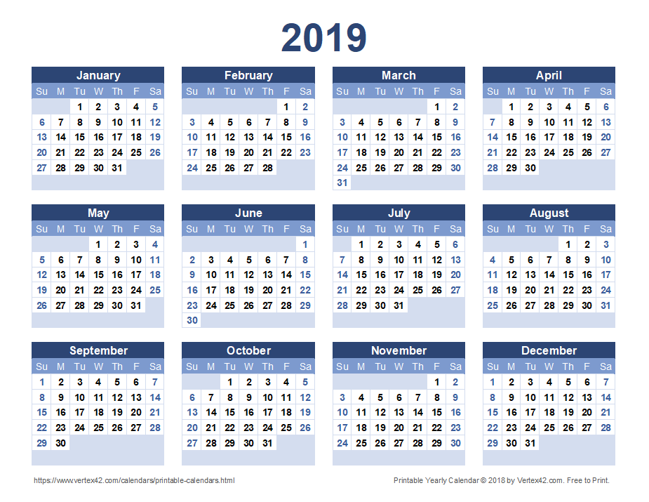 2019 Yearly Calendar - Blue Landscape