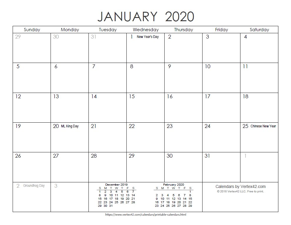 Printable Ink Saver 2020 Calendar