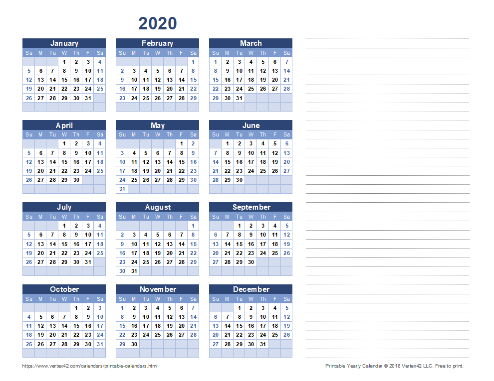 2020 Yearly Calendar with Notes