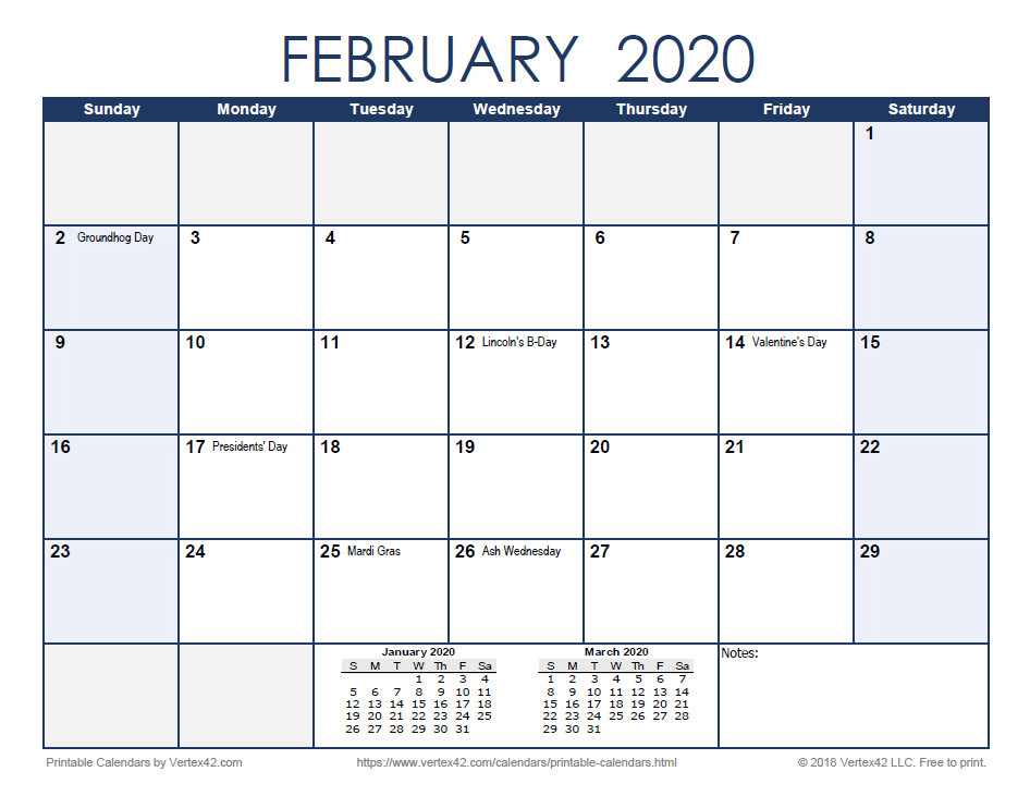 2020 Monthly Calendar - Blue