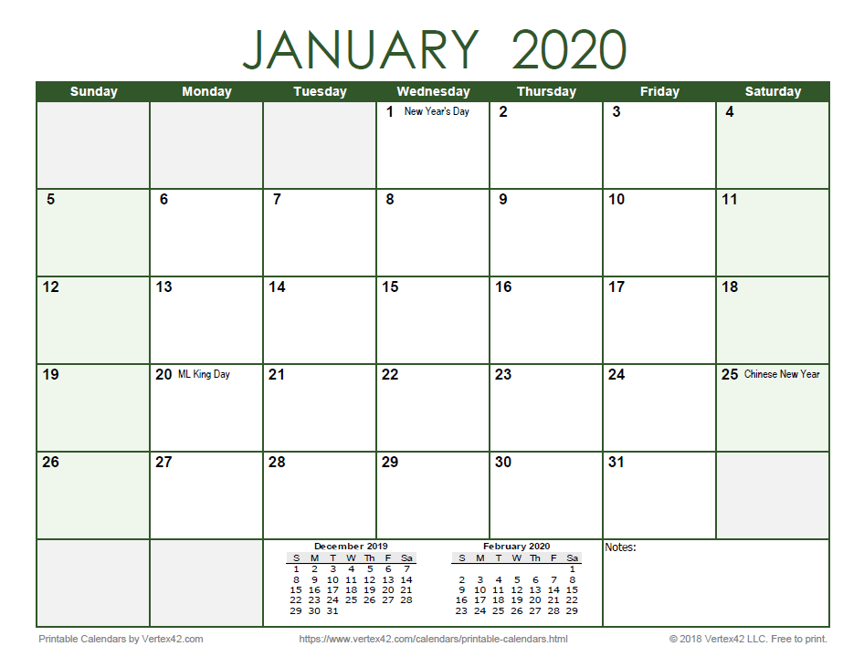 2020 Monthly Calendar - Green