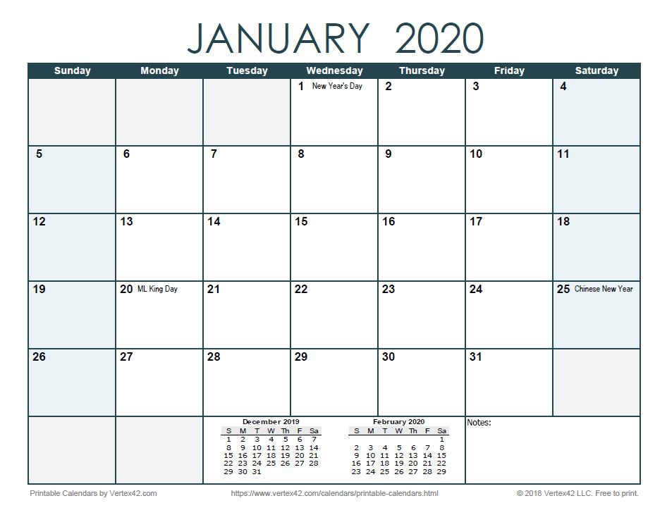 2020 Monthly Calendar - Ocean