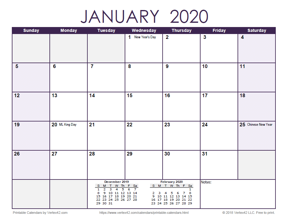 2020 Monthly Calendar - Purple