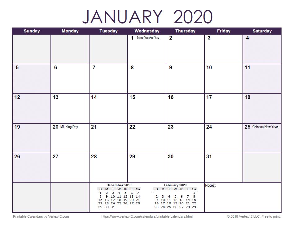 2020 Monthly Calendar - Purple
