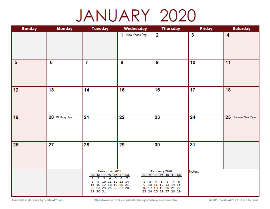 2020 Monthly Calendar - Red