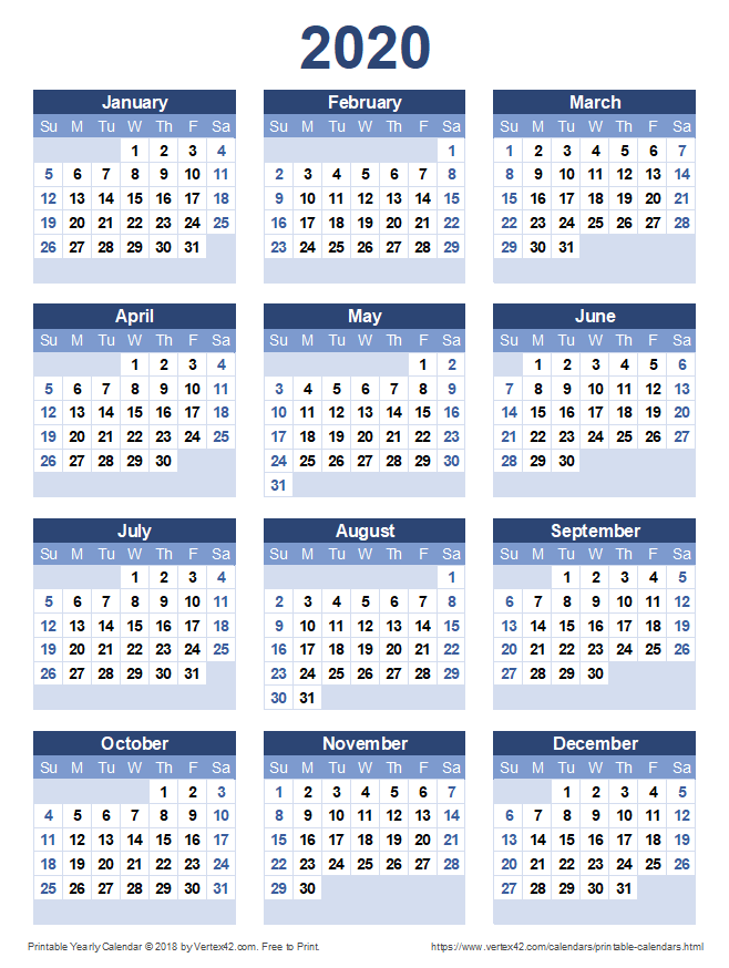 Printable 2020 Yearly Calendar