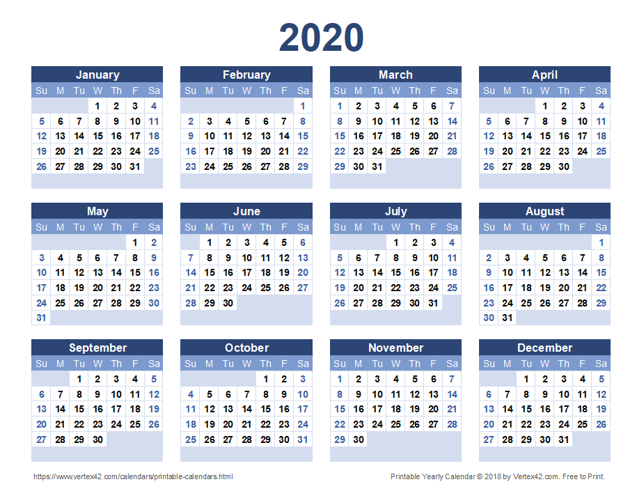 2020 Yearly Calendar - Blue Landscape