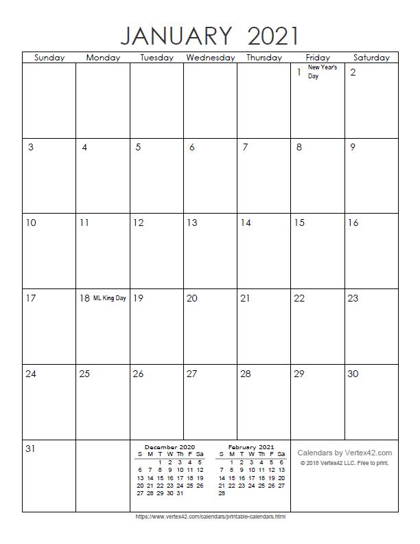 Printable Monthly 2021 Calendar