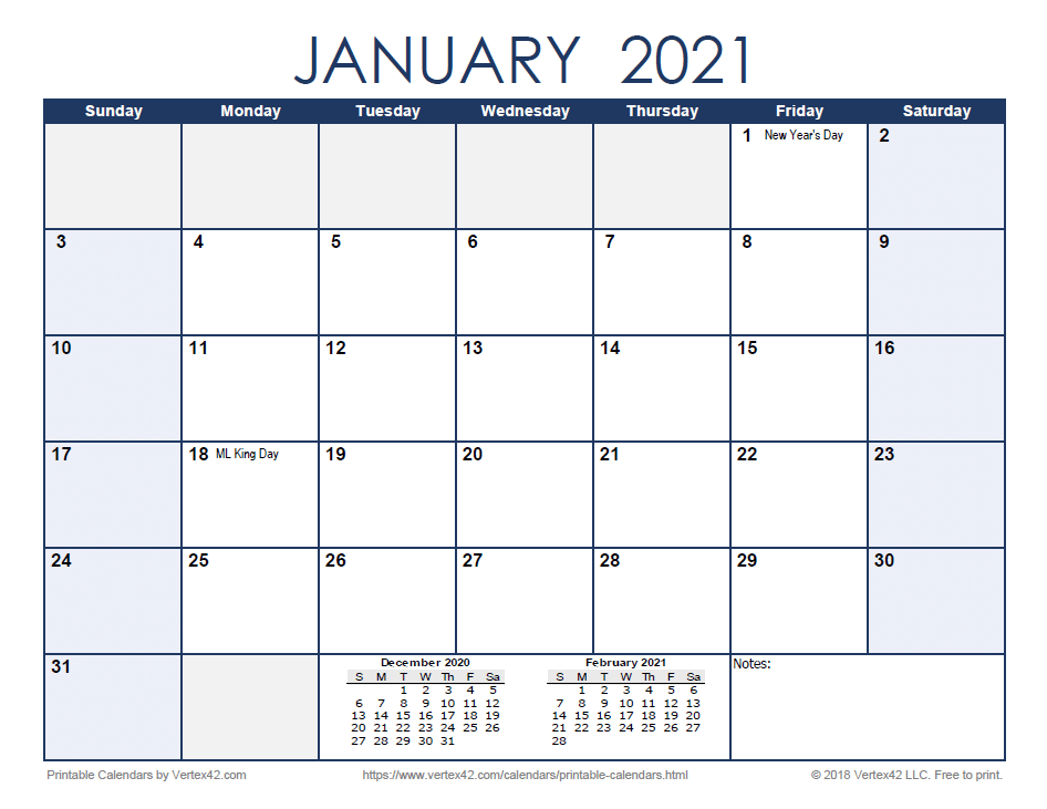 2021 Monthly Calendar - Blue