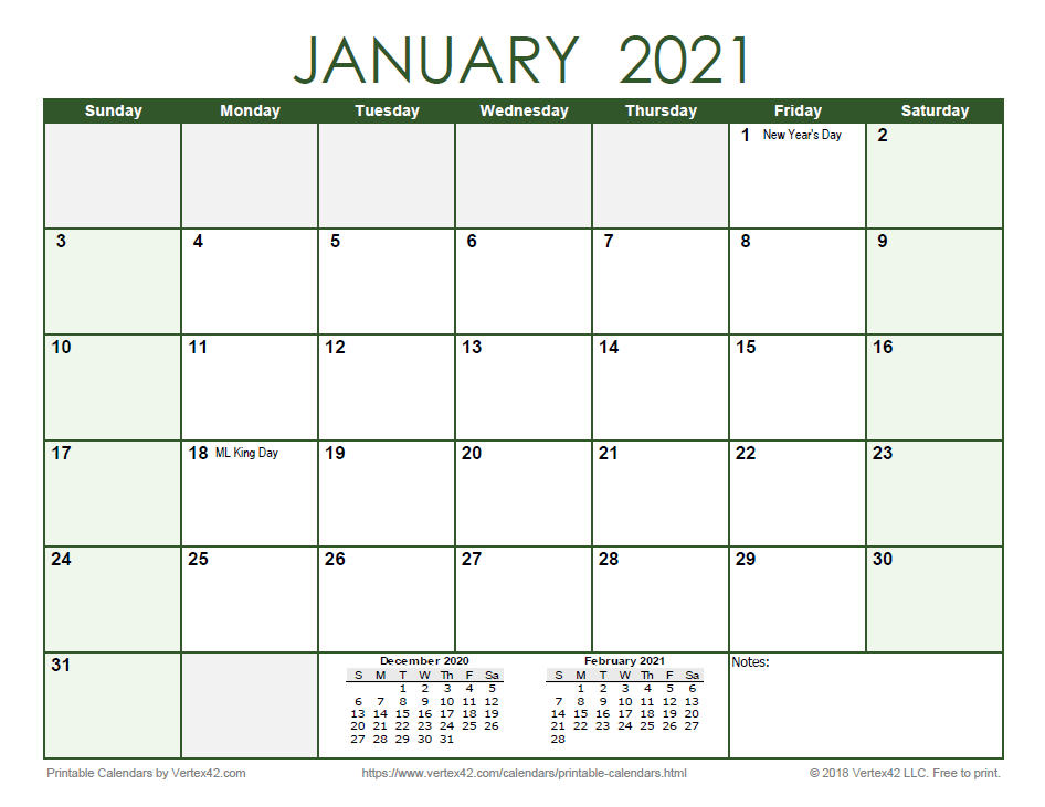 2021 Monthly Calendar - Green