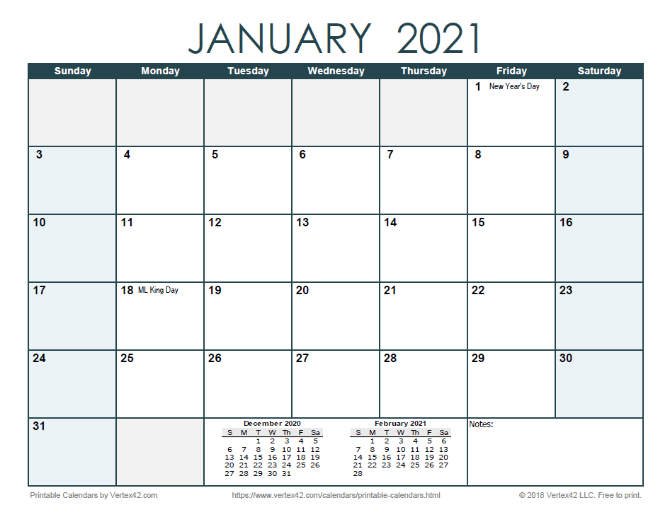 2021 Monthly Calendar - Ocean
