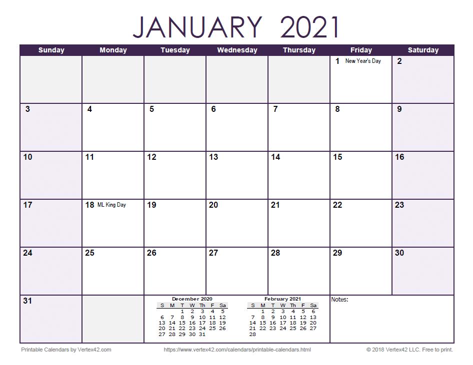 2021 Monthly Calendar - Purple