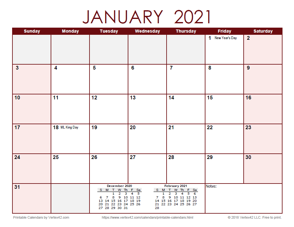 2021 Monthly Calendar - Red