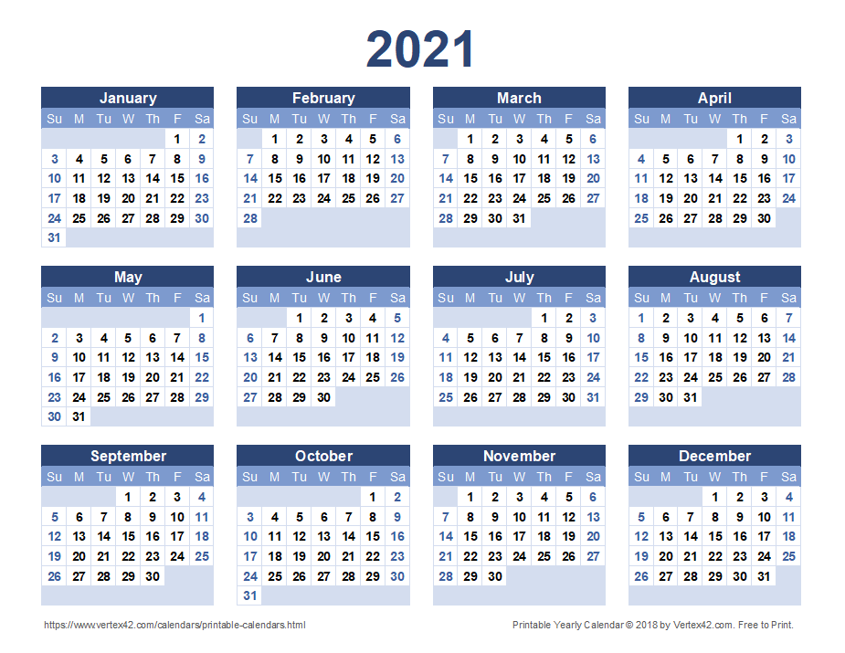 2021 Yearly Calendar - Blue Landscape