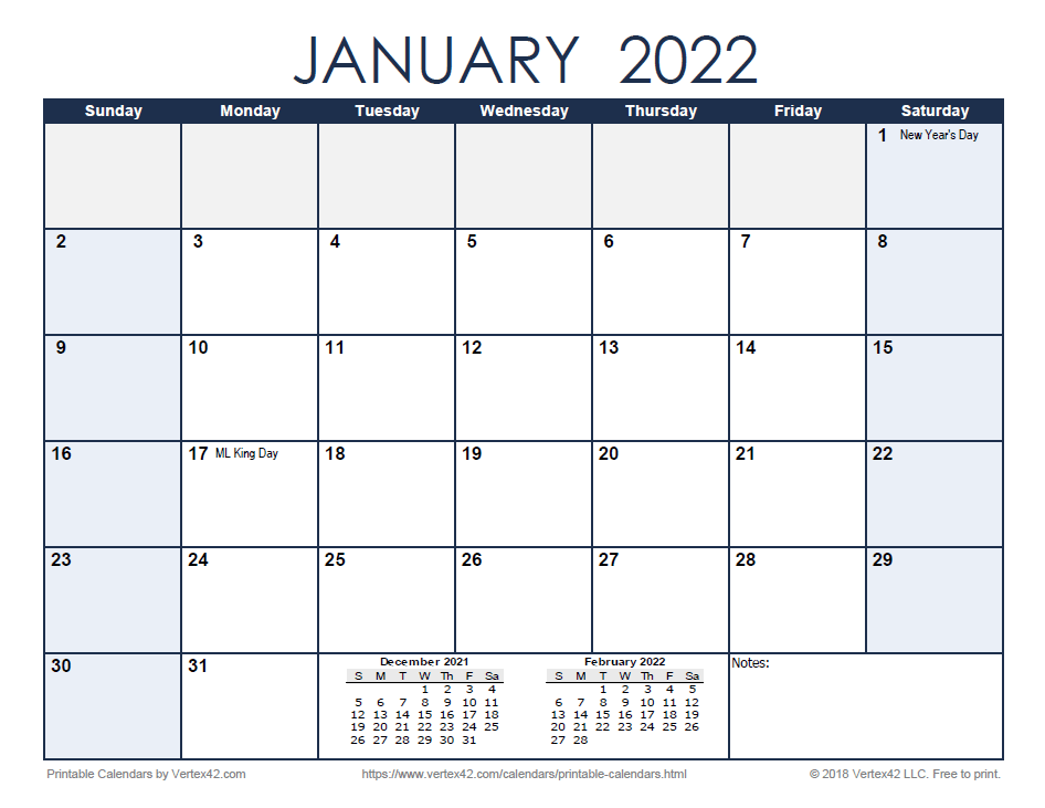2022 Monthly Calendar - Blue