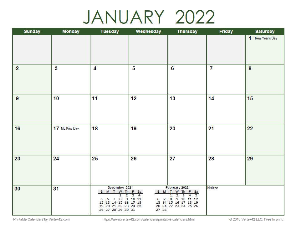 2022 Monthly Calendar - Green
