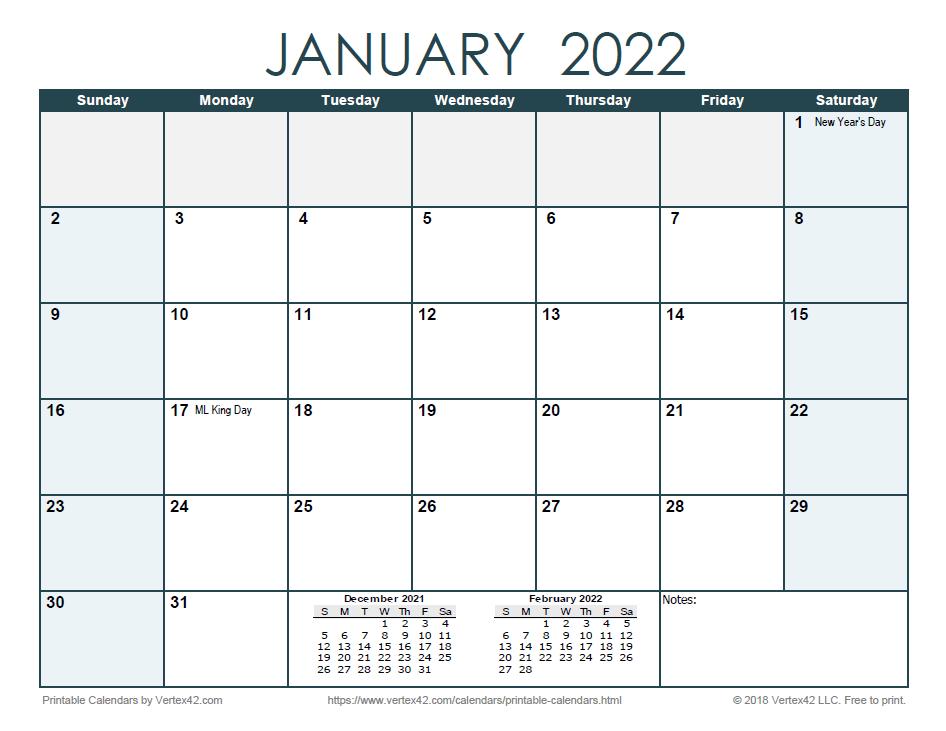 2022 Monthly Calendar - Ocean