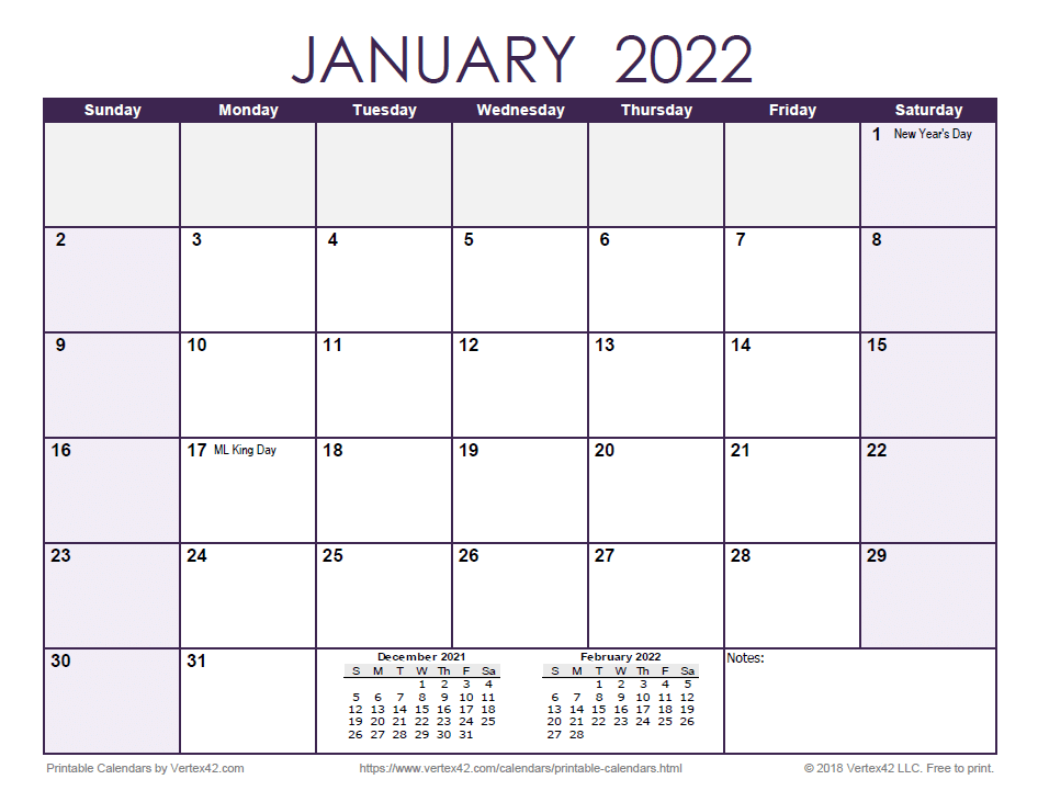 2022 Monthly Calendar - Purple