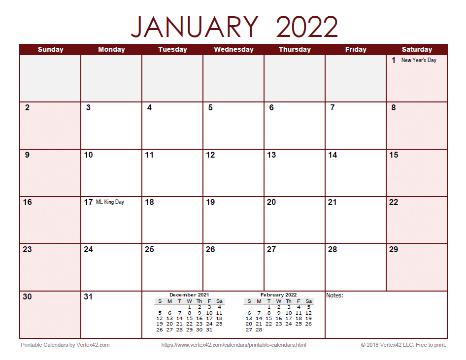 2022 Monthly Calendar - Red