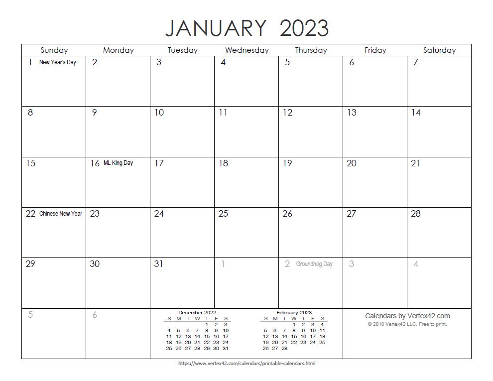 Printable Ink Saver 2023 Calendar