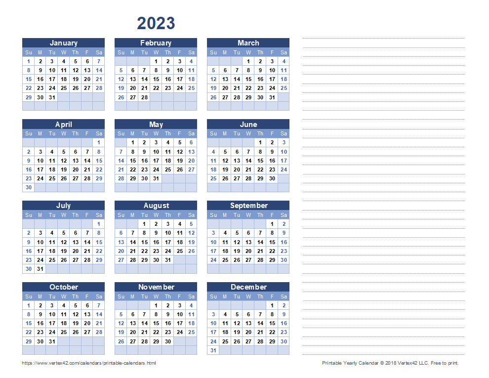 2023 Yearly Calendar with Notes