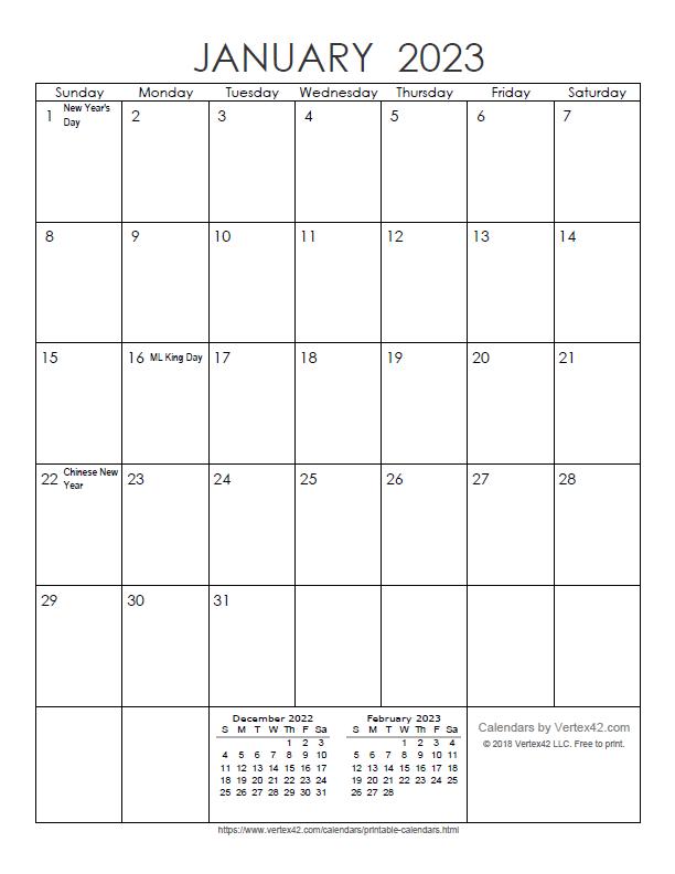 Printable Monthly 2023 Calendar