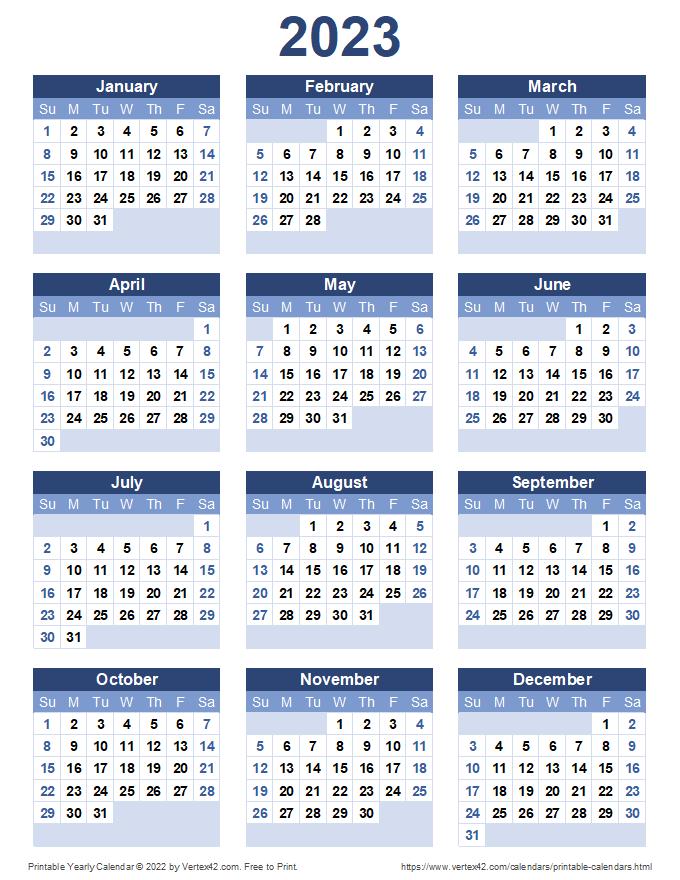 Printable 2023 Yearly Calendar