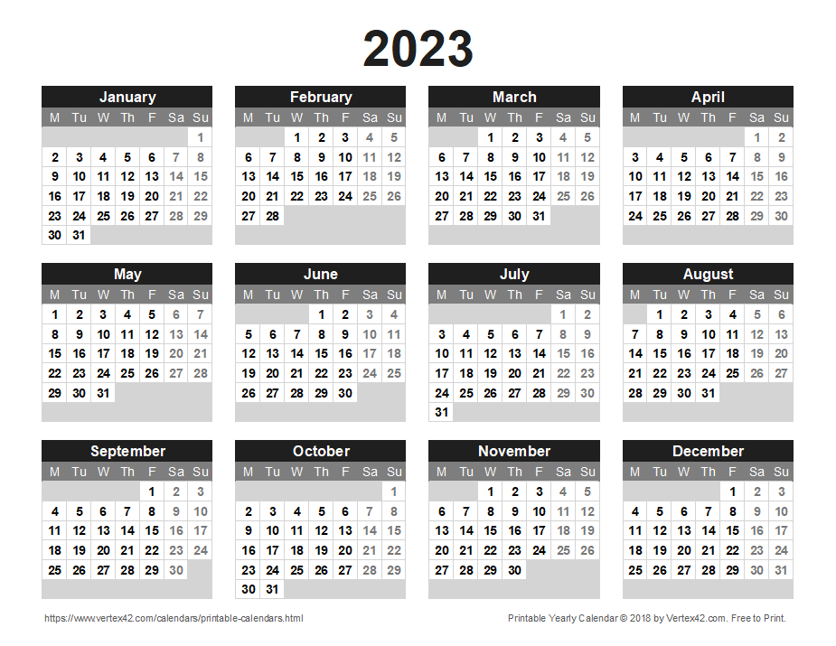 Printable 2023 Yearly Calendar