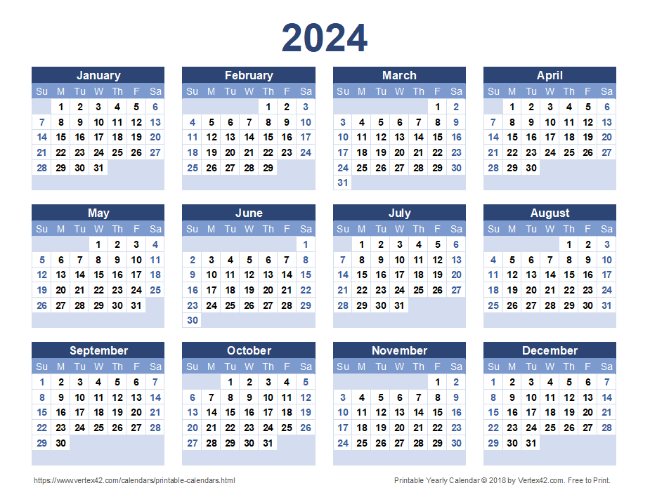 2024 Yearly Calendar - Blue Landscape