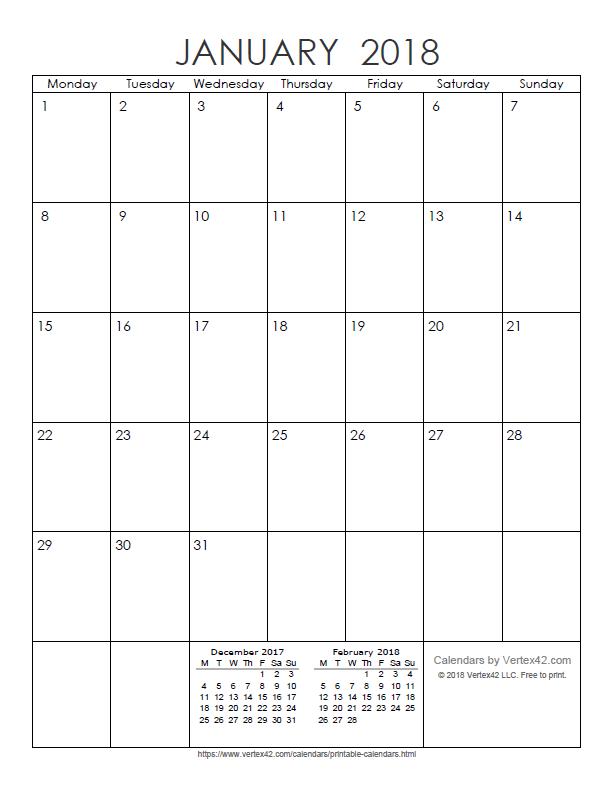 Printable Monthly 2018 Calendar