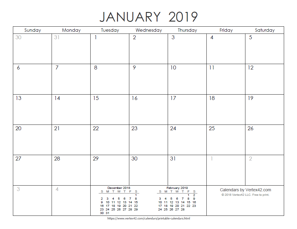 Printable Ink Saver 2019 Calendar