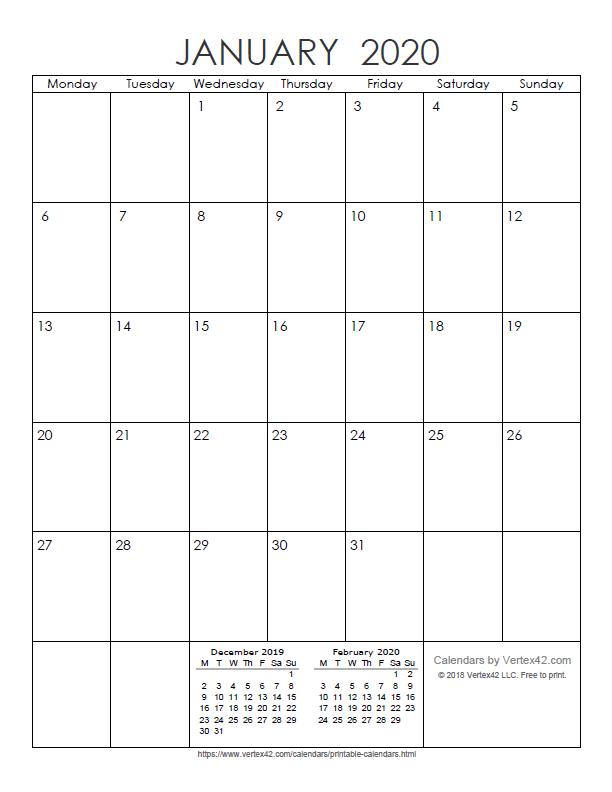 Printable Monthly 2020 Calendar