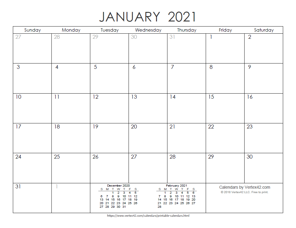 Printable Ink Saver 2021 Calendar