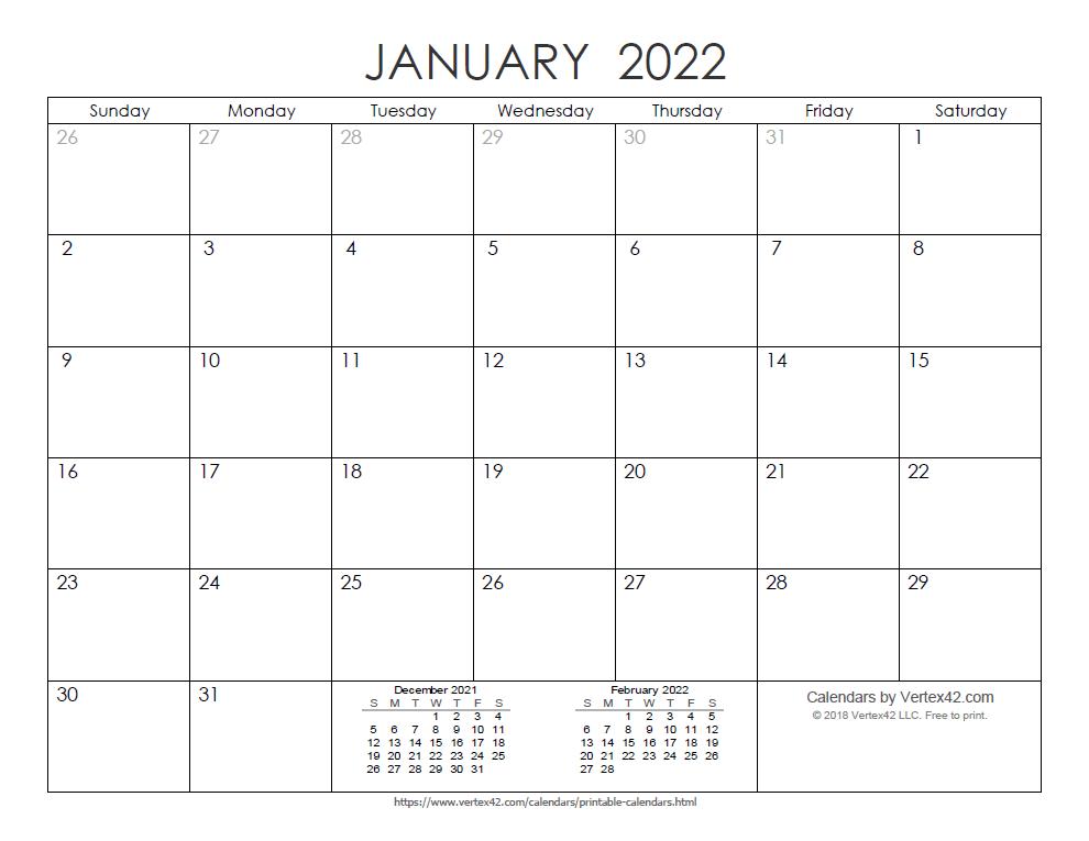 Printable Ink Saver 2022 Calendar