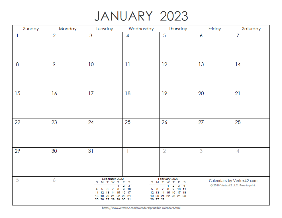 Printable Ink Saver 2023 Calendar