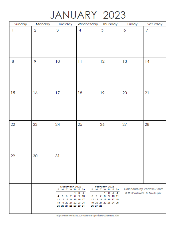 Printable Monthly 2023 Calendar