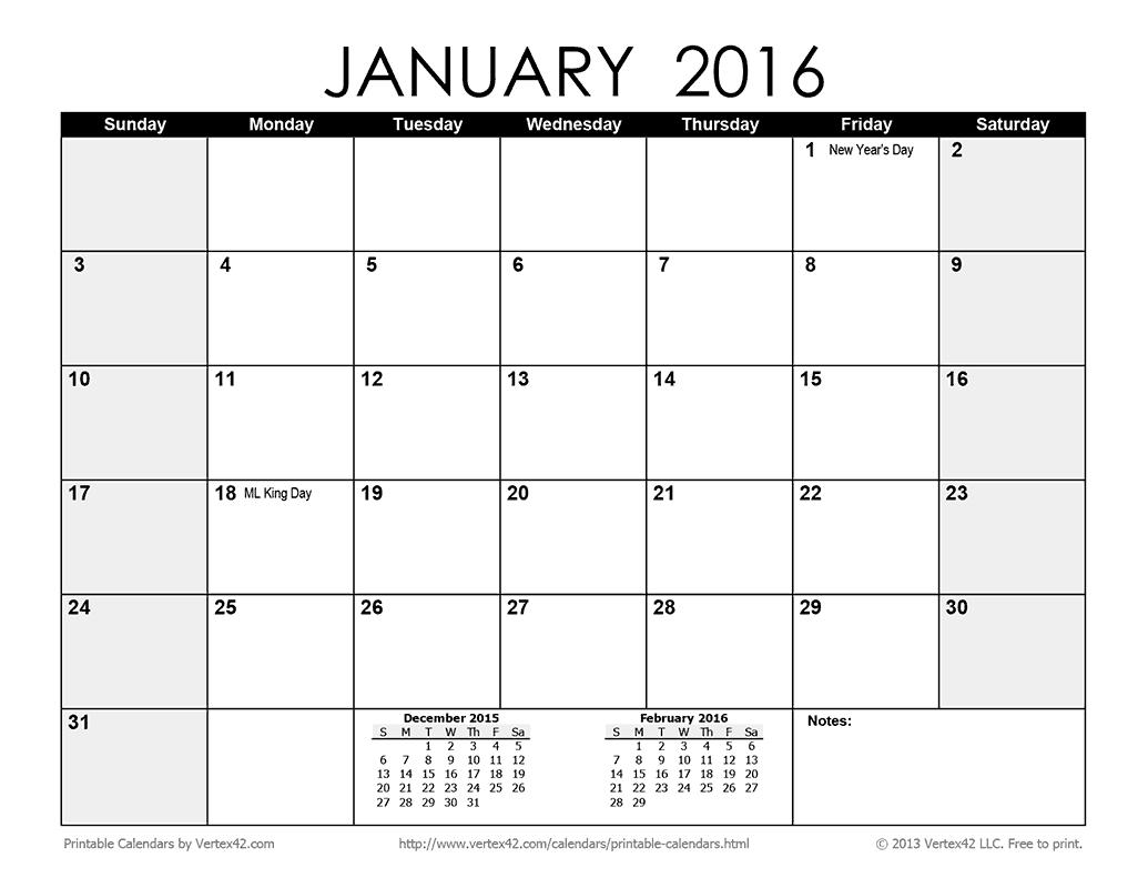Printable Monthly 2016 Calendar
