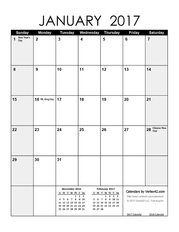 Printable Monthly 2017 Calendar