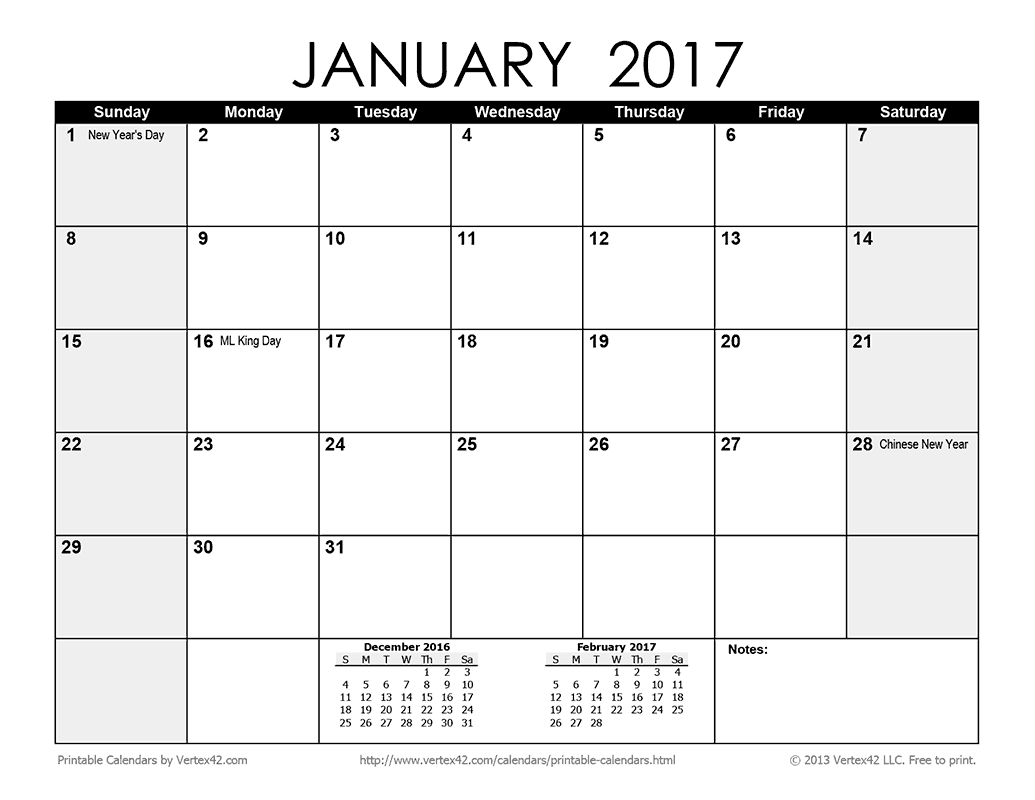 Download the Printable Monthly 2017 Calendar