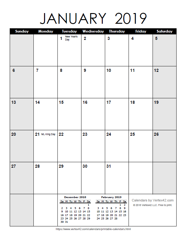 Monthly Calendars 2019 Printable Free Printable Calendar   Printable Monthly Calendars
