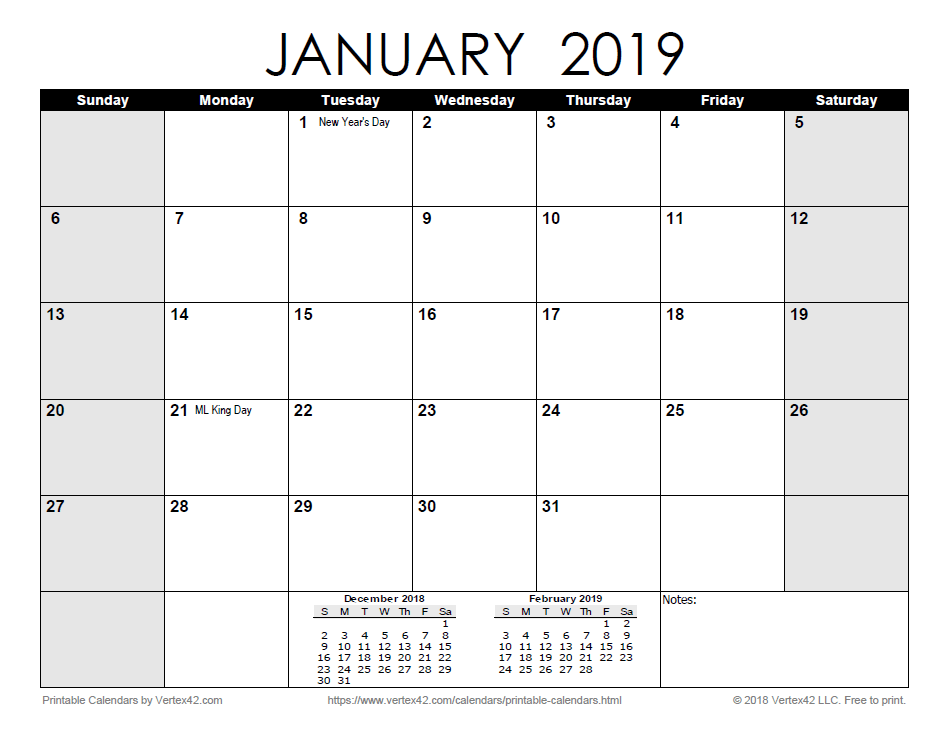 Printable Monthly 2019 Calendar