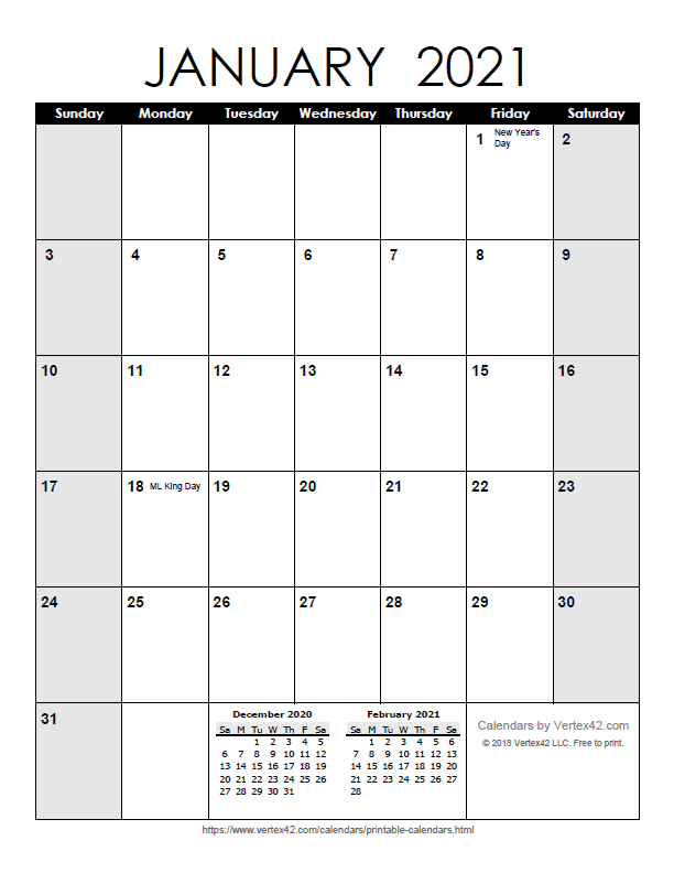 Printable Monthly 2021 Calendar