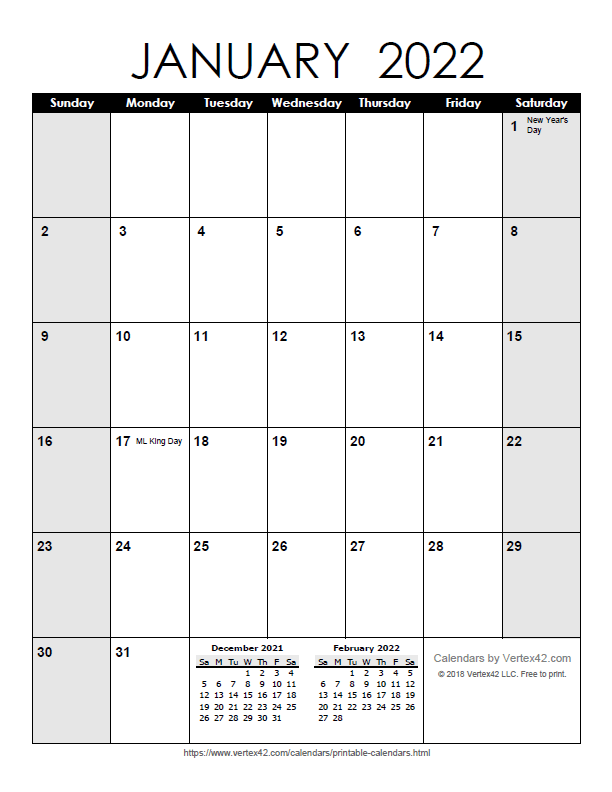 Printable Monthly 2022 Calendar