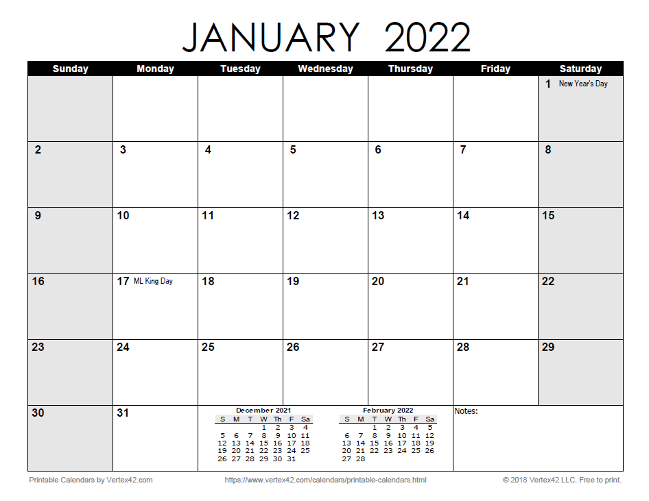 Printable Monthly 2022 Calendar