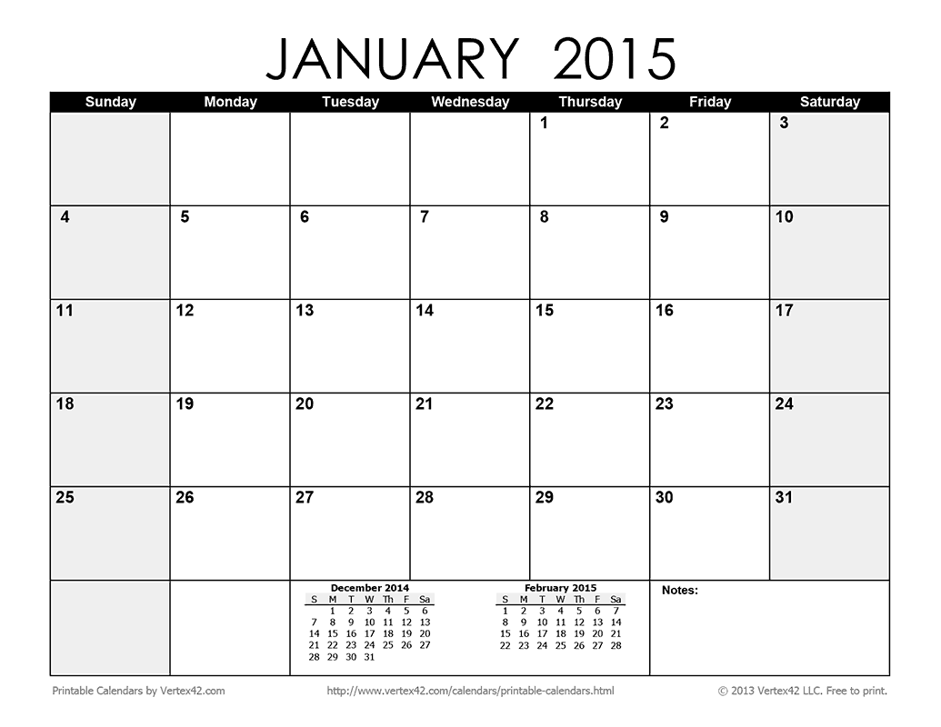Download the Printable Monthly 2015 Calendar