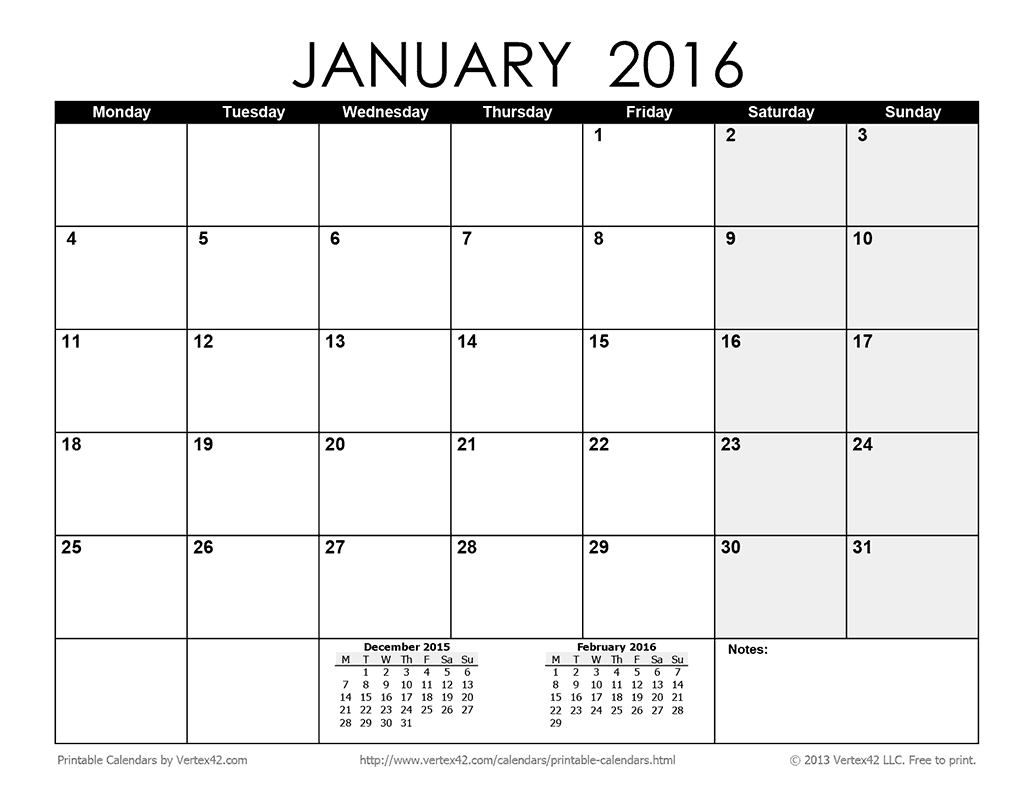 download the printable monthly 2016 calendar